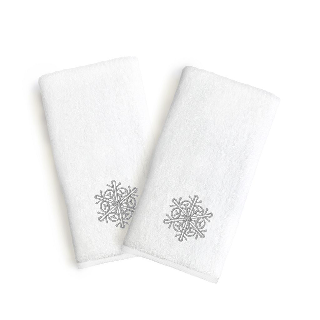 Linum Home Textiles Snowflake Holiday Embroidered Luxury 2-pack Hand Towels