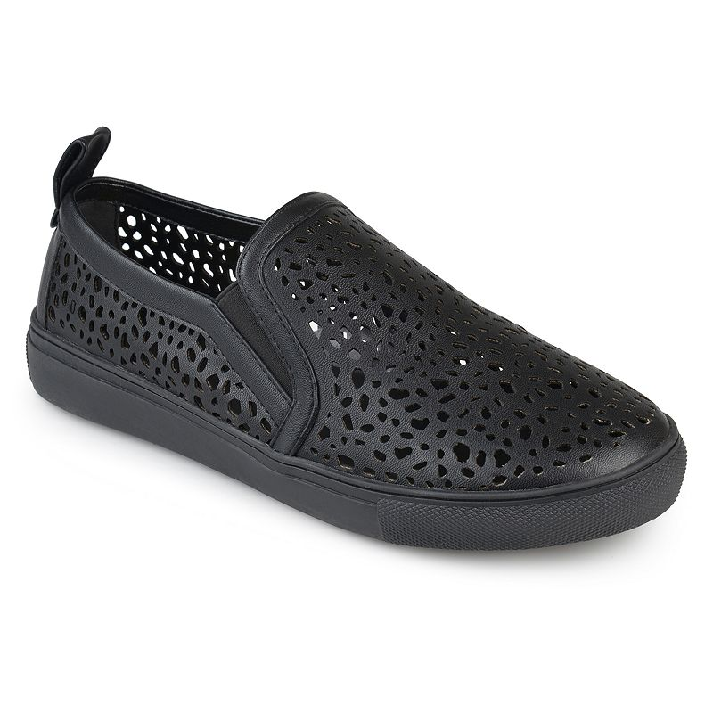 Journee Collection Kenzo Women's Sneakers, Size: medium (6), Black Show off cool kicks in these laser-cut Kenzo sneakers by Journee Collection. Shoe Features Laser cut-out design Pull tab Traction sole Shoe Construction Faux leather upper Manmade outsole Shoe Details Round toe Slip on Padded footbed 0.91-in. heel Size: Medium (6). Color: Black. Gender: Female. Age Group: Kids. Material: Synthetic.