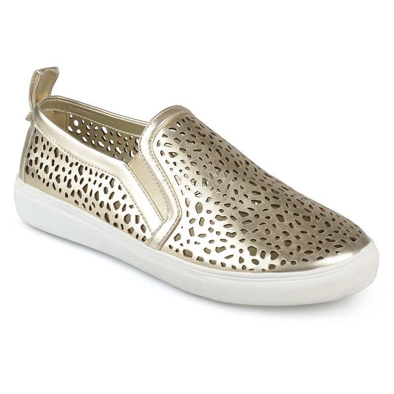 Journee Collection Kenzo Women's Sneakers, Size: medium (6), Gold Show off cool kicks in these laser-cut Kenzo sneakers by Journee Collection. Shoe Features Laser cut-out design Pull tab Traction sole Shoe Construction Faux leather upper Manmade outsole Shoe Details Round toe Slip on Padded footbed 0.91-in. heel Size: Medium (6). Color: Gold. Gender: Female. Age Group: Kids. Material: Synthetic.