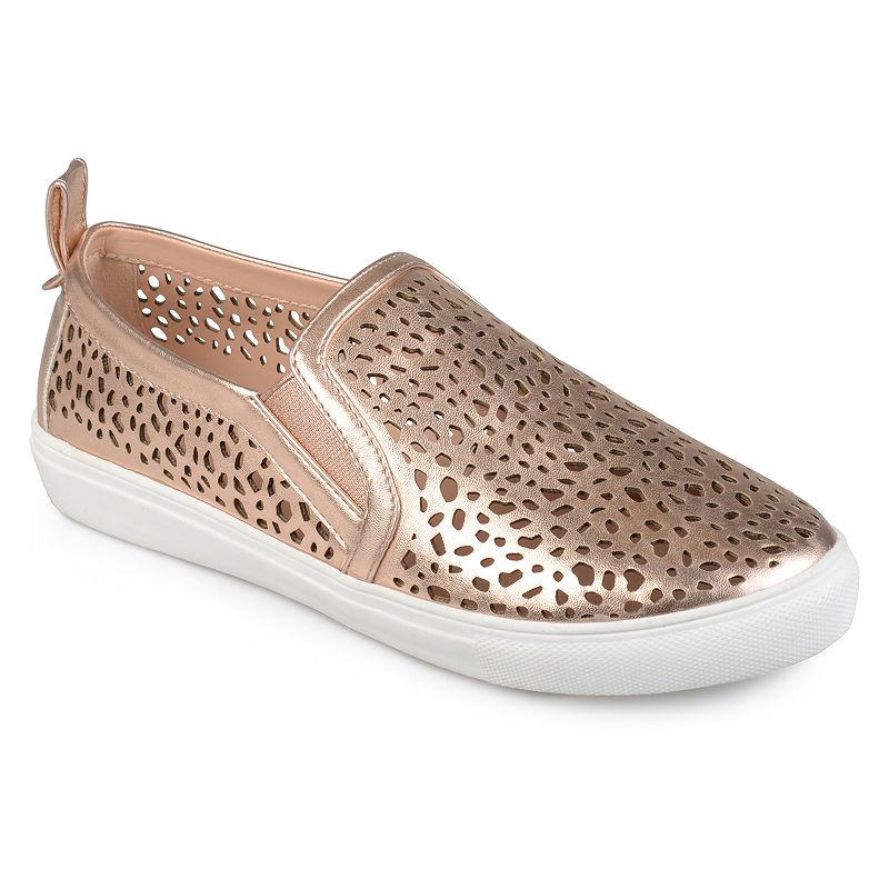 Journee Collection Kenzo Women's Sneakers, Size: 5.5 Med, Dark Pink Show off cool kicks in these laser-cut Kenzo sneakers by Journee Collection. Shoe Features Laser cut-out design Pull tab Traction sole Shoe Construction Faux leather upper Manmade outsole Shoe Details Round toe Slip on Padded footbed 0.91-in. heel Size: 5.5 Med. Color: Dark Pink. Gender: Female. Age Group: Kids. Material: Synthetic.