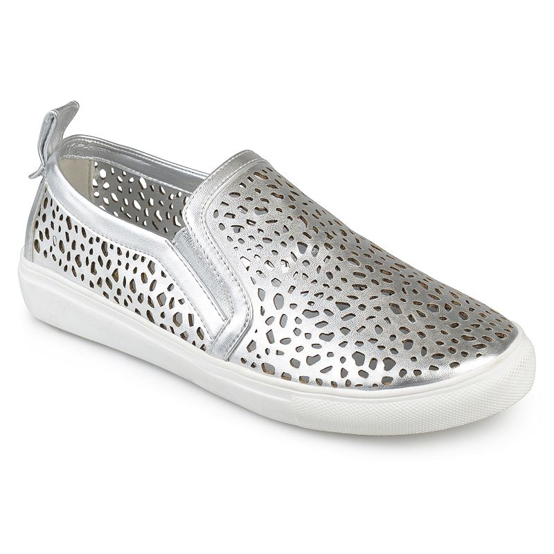 Journee Collection Kenzo Women's Sneakers, Size: medium (10), Silver Show off cool kicks in these laser-cut Kenzo sneakers by Journee Collection. Shoe Features Laser cut-out design Pull tab Traction sole Shoe Construction Faux leather upper Manmade outsole Shoe Details Round toe Slip on Padded footbed 0.91-in. heel Size: Medium (10). Color: Silver. Gender: Female. Age Group: Kids. Material: Synthetic.