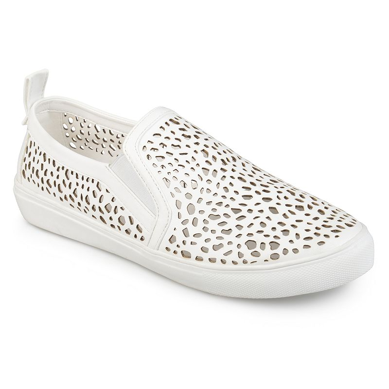 Journee Collection Kenzo Women's Sneakers, Size: medium (11), White Show off cool kicks in these laser-cut Kenzo sneakers by Journee Collection. Shoe Features Laser cut-out design Pull tab Traction sole Shoe Construction Faux leather upper Manmade outsole Shoe Details Round toe Slip on Padded footbed 0.91-in. heel Size: Medium (11). Color: White. Gender: Female. Age Group: Kids. Material: Synthetic.
