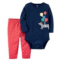 Baby Girl Carter's Dog & Balloon Bodysuit & Polka-Dot Leggings Set