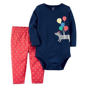 Baby Girl Carter's Dog & Balloon Bodysuit & Polka-Dot Leggings Set