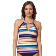 Women's Pink Envelope Striped Halterkini Top