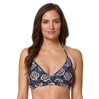 Women's Pink Envelope Rose Halter Bikini Top