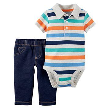 Baby Boy Carter's Striped Bodysuit & Faux Denim Set