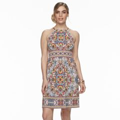 Petite Suite 7 Tile Print High Neck Dress