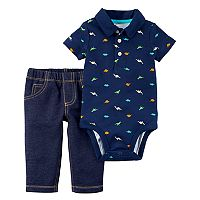 Baby Boy Carter's Dinosaur Bodysuit & Faux Denim Set