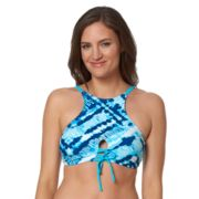 Women's Pink Envelope Tie-Dye High-Neck Bikini Top