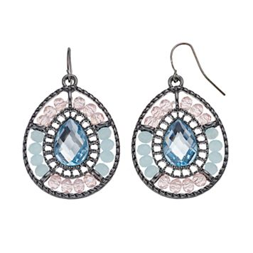 Pastel Beaded Nickel Free Teardrop Earrings