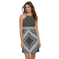 Petite Suite 7 Diamond Print High Neck Dress