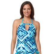 Women's Pink Envelope High-Neck Tankini Top