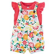 Baby Girl Carter's Floral French Terry Shortalls & Tee Set