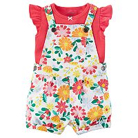 Baby Girl Carter's Floral French Terry Shortalls & Bodysuit Set