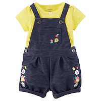 Baby Girl Carter's Floral Shortalls & Polka Dot Bodysuit Set