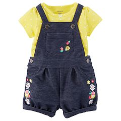 Baby Girl Carter's Floral Shortalls & Polka Dot Tee Set
