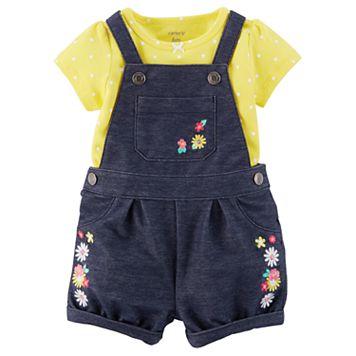 Baby Girl Carter's Floral Shortalls & Polka Dot Tee Set