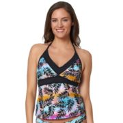 Women's Pink Envelope Palm Leaf Tankini Top