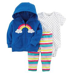 Baby Girl Carter's  Rainbow Hoodie, Bodysuit & Pants Set