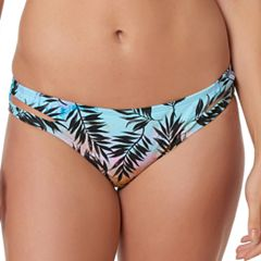 Women's Pink Envelope Palm Leaf Hipster Bikini Bottoms
