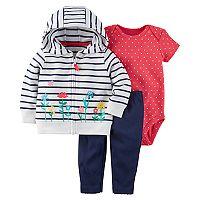Baby Girl Carter's Striped Floral Hoodie, Bodysuit & Pants Set