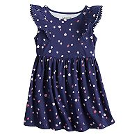 Toddler Girl Jumping Beans® Pom Trim Printed Flutter Dress