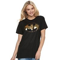 Juniors' DC Comics Batman Metallic Logo Graphic Tee