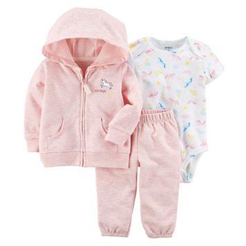 Baby Girl Carter's Unicorn Hoodie, Bodysuit & Pants Set