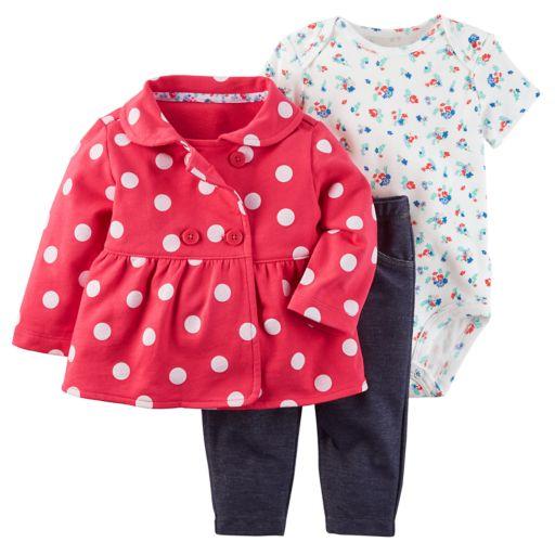 Baby Girl 3-piece Jacket, Bodysuit & Pants Set