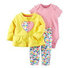 Baby Girl Carter's Heart Jacket, Bodysuit & Leggings Set