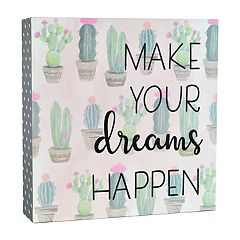 Belle Maison 'Dreams' Cactus Box Sign Art
