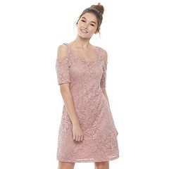 Juniors' Liberty Love Cold-Shoulder Lace Shift Dress