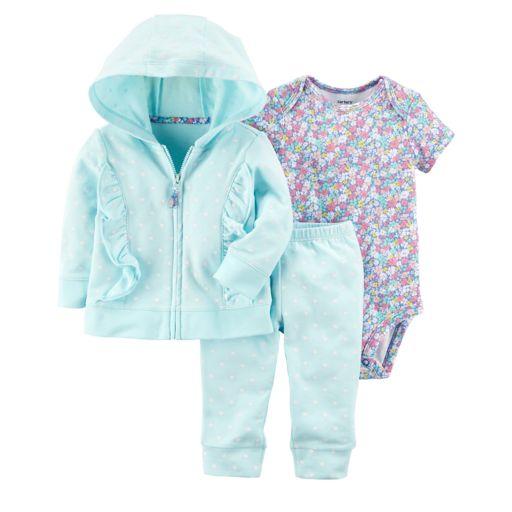 Baby Girl 3-piece Jacket, Bodysuit, & Pants Set