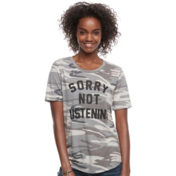 "Juniors' ""Sorry Not Listening"" Graphic Camo Tee"