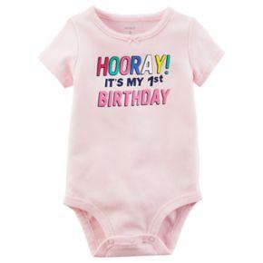 "Baby Girl ""Hooray! It's My 1st Birthday"" Graphic Bodysuit"