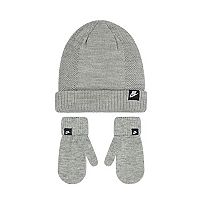 Toddler Boy Nike Gray Beanie & Mittens Set