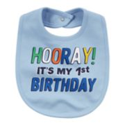 "Baby Boy ""Hooray! It's My 1st Birthday"" Graphic Bib"