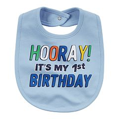 Baby Boy 'Hooray! It's My 1st Birthday' Graphic Bib