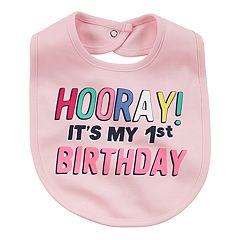 Baby Girl 'Hooray! It's My 1st Birthday' Graphic Bib