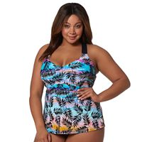 Plus Size Pink Envelope Palm Leaf Tankini Top
