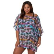 Plus Size Pink Envelope Palm Leaf Caftan Cover-Up