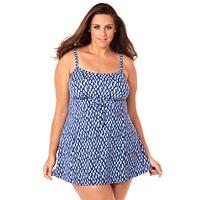 Plus Size Croft & Barrow® Bust Minimizer Ikat Empire Swimdress