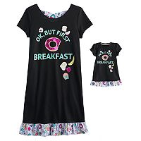 Girls 4-14 & Plus Size SO® Criss-Cross Back Graphic Nightgown & Doll Gown Set