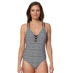 Women's Pink Envelope Zigzag Strappy One-Piece Swimsuit