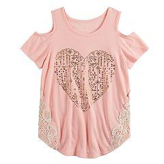 Girls 7-16 Mudd® Cold Shoulder Crochet Pieced Tee