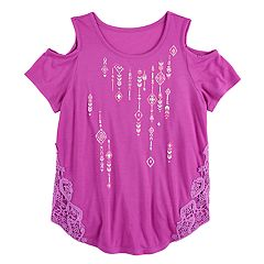 Girls 7-16 Mudd® Cold Shoulder Crochet Pieced Tee