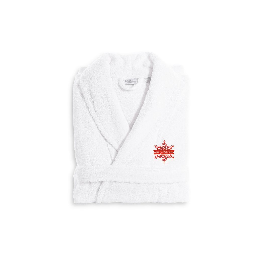 Linum Home Textiles Holiday Embroidered Luxury Terry Cotton Bathrobe