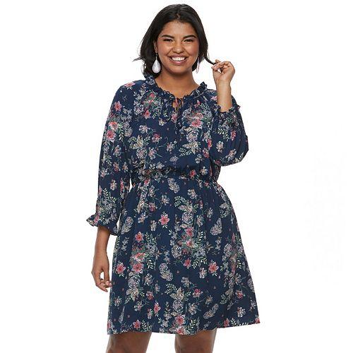 Juniors Plus Size Wrapper Floral Peasant Dress