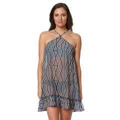 Women's Pink Envelope Zigzag Chiffon Cover-Up